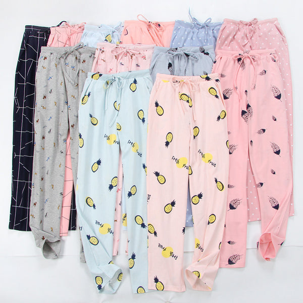 Women's Cartoon Sleep Pants Knitted Trousers 100% Cotton Household Lounge Night Pants Lounge Comfortable Thin Pajamas Bottom