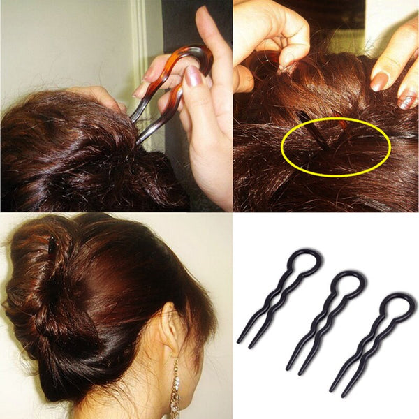 3PCs/Set Black/Brown Wood U Shape Hair Pins Invisible Wavy Hairclips Health Hair Care Beauty Professional Styling Hair Tools