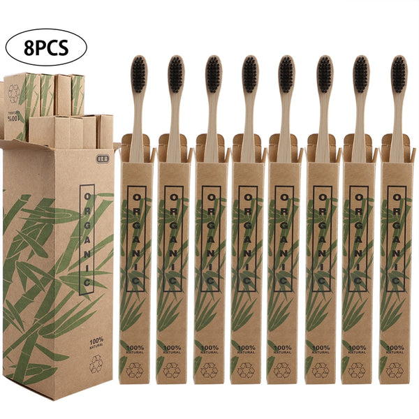 8pcs Travel Environmentally Bamboo Toothbrushes Bristle Oral Care Tooth Brush