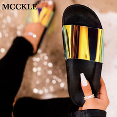 MCCKLE Summer Woman Flat Slippers Candy Color Jelly Shoe Woman Transparent Slides Female Open Toe Flip Flops Women's Beach Shoes