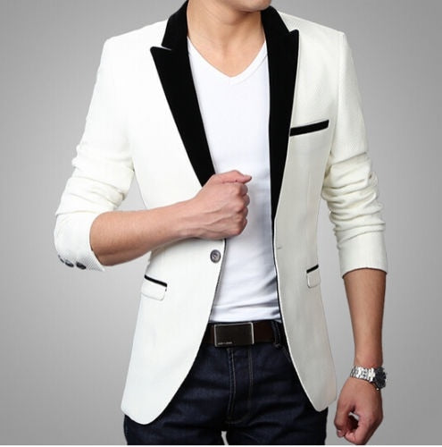 Stylish White Men's Casual Slim Fit One Button Suit Pop Blazer Coat Jacket