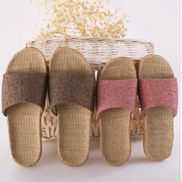 Summer Linen Women's Slippers Mixed Color Casual Indoor Floor Shoes Home Slippers Ladies Open Toe Slippers Flat Shoes