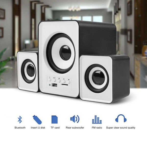 SADA D-230 Mini Wireless Bluetooth 2.1 Stereo Speaker Combination Speaker PC Computer Speaker FM Radio Music Player Loudspeaker