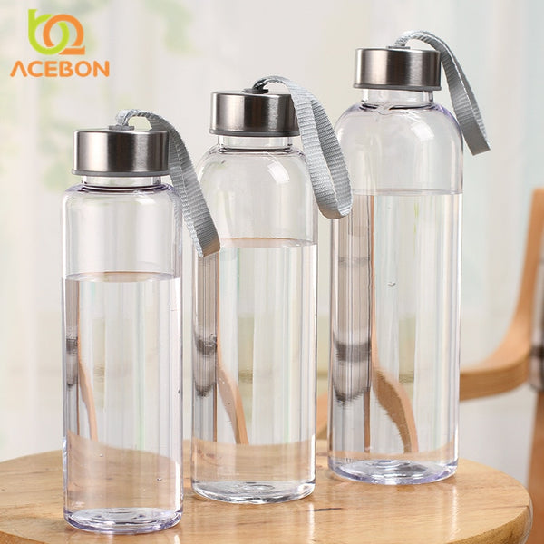 Outdoor Sports Portable Water Bottles Plastic Transparent Round Leakproof Travel Carrying for Water Bottle Studen Drinkware