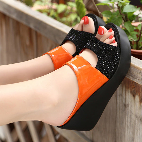 2019 Arrival Women's Sandals Women Summer Fashion Leisure Fish Mouth Sandals Thick Bottom Slippers Wedges Shoes Women Dropship