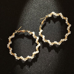 New Pearl Hoop Earrings For Women Exaggerates Oversize Pearl Circle Ear Dangle Earrings Fashion Europe Nightclub Jewelry