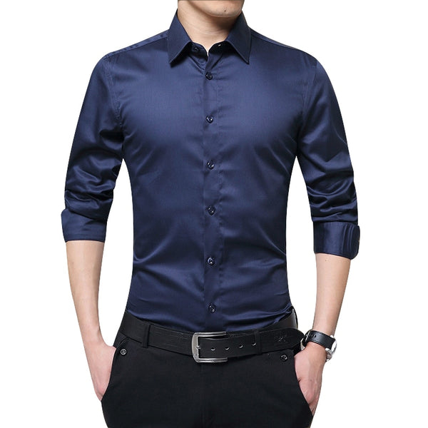 New Brand Men's Autumn  Long Sleeve Shirts Slim Fit Solid Turn-down Collar Tuxedo Shirt Business Formal Men Shirts Big Size 3XL