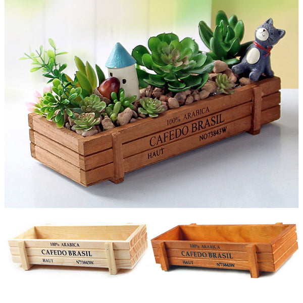 Vintage Wood Doniczka Garden Flower Planter Succulent Pot Rectangle Trough Box Plant Bed original wood color storage box maceta