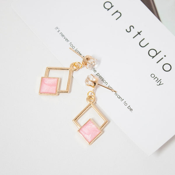 Hot New Fashion Hollow Geometric Quadrilateral Dangling Long Statement Drop Earrings For Women Crystal Jewelry Wholesale