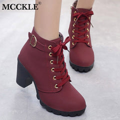 MCCKLE Plus Size Ankle Boots Women Platform High Heels Women's Boots Buckle Shoes Thick Heel Short Boot Ladies Drop Shipping