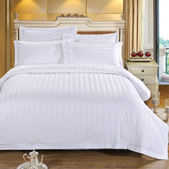 New Pure White Stripes Hotel Bedding Set Polyester Fabric Bed Linen Duvet Cover Set Flat Sheet Pillowcases 3/4pcs Bedclothes