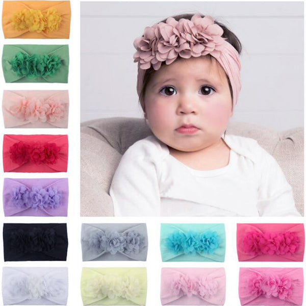 Baby Girl Headbands 3D Flower Kids Toddler Bow Hairband Headband Big Floral Elastic Hair Bands Head Wrap Baby Hair Accessories