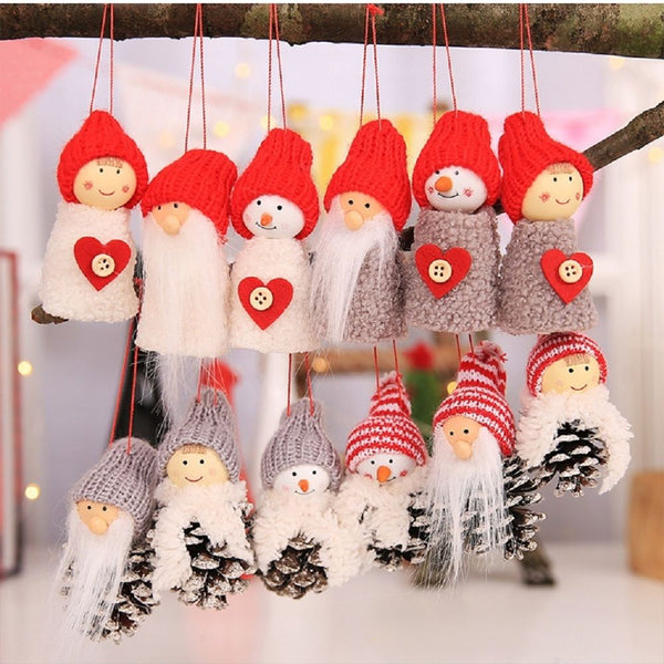 Hot Sale 3Pcs/Set Xmas Doll Santa Claus Christmas Hanging Ornaments Christmas Tree Pendant Home Christmas Decorations Drop Ship