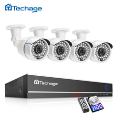 Techage CCTV Camera System 4CH 1080P 2MP AHD Security Camera DVR Kit IP66 Waterproof Outdoor Home Video Surveillance Set 1TB HDD