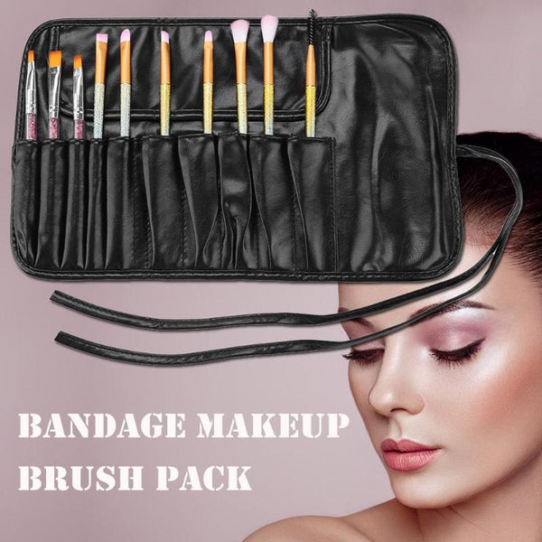 Professional Travel Makeup Brushes Bag Portable PU Leather Bag Make Up Tool Holder Organizer Makeup Accessories Brushes Set Bag