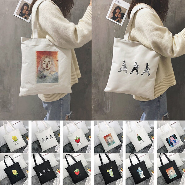 Reusable Shopping Bag Fashion Women Canvas Tote Bags Printing eco Bag Cartoon bolsa de compras Shopper Shoulder Bags #F