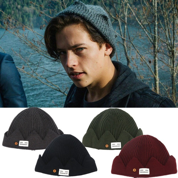 New Jughead Jones Riverdale Cosplay Winter Warm Beanie Hat Topic Exclusive Crown Knitted Docker HipHop Brimless Cuffed Short Cap