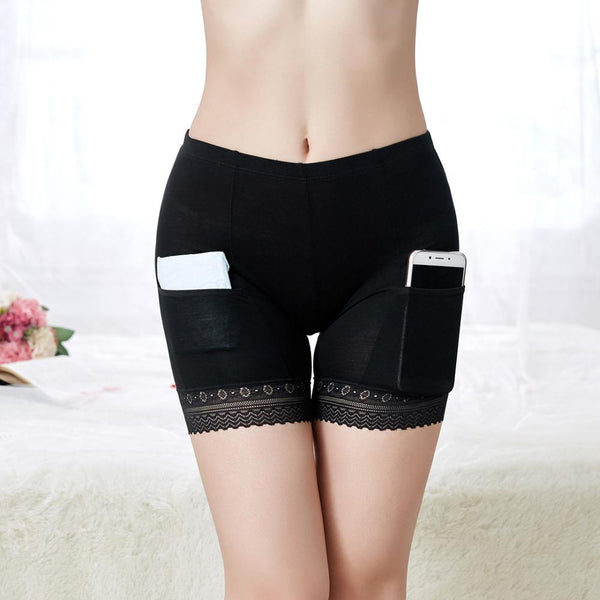 Women's Shorts Under Skirt Pockets Convenient Sexy Lace Women Summer Shorts Intimate Plus Size Panties