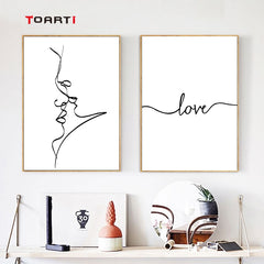 Kiss Line Drawing Face Canvas Painting  Love Calligraphy Minimalist Wall Art Modern Painting Canvas Home Decor Nordic Lover Gift