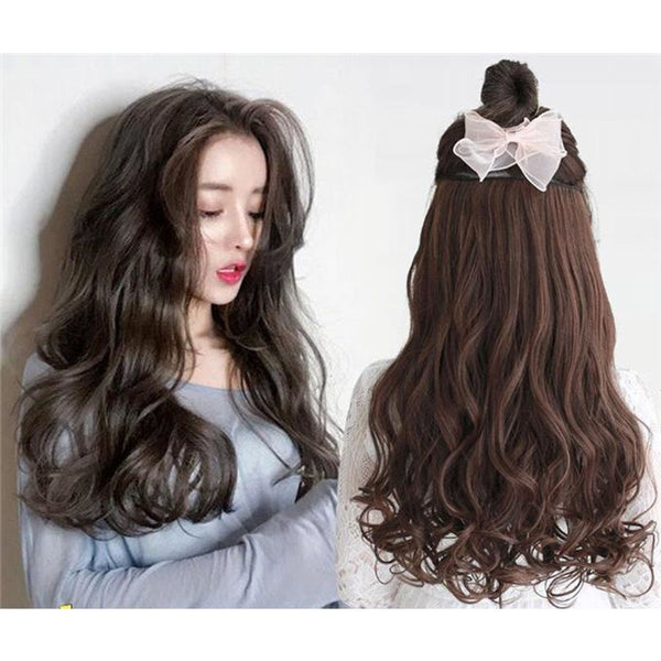 women long curly hair big wave one piece natural wig set U-shaped seamless hair extension wig piece cute Headwear