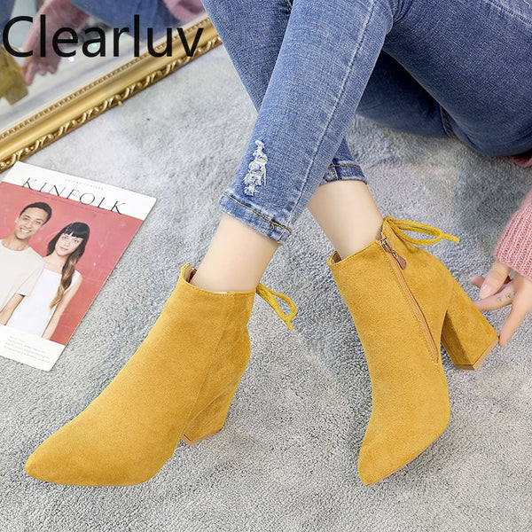 2020 Yellow Color Ankle Boots Women Shoes Zipper High Heel Boots Sexy Ankle Boots Women Shoes Ankle Boots Women's Jodhpur Boots