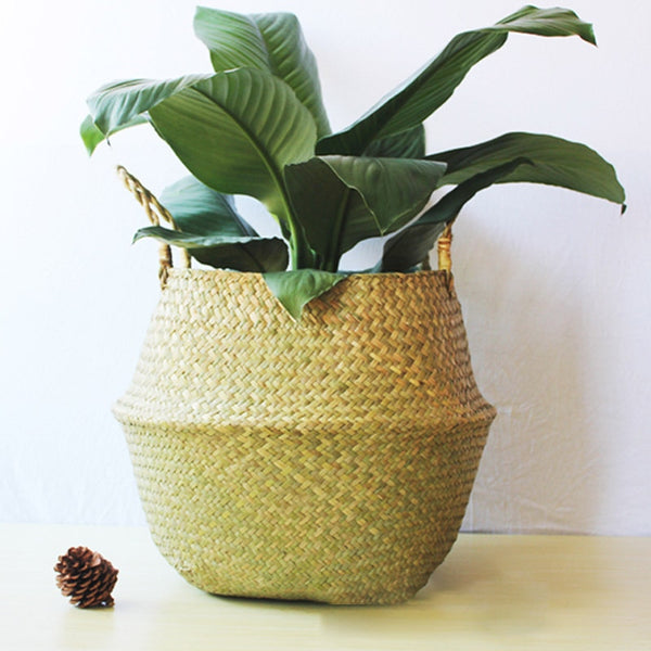 Handmade Storage Baskets Foldable Laundry Straw Patchwork Wicker Rattan Seagrass Belly Garden Flower Pot Planter Straw Basket