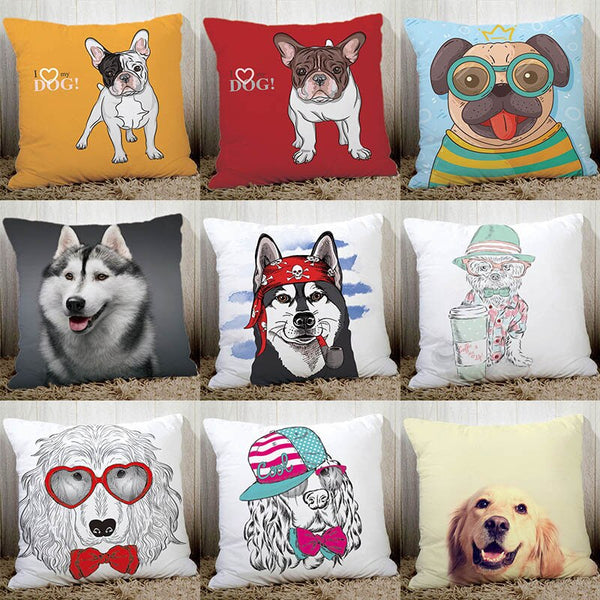 Lovely dogs home decorative pillow 45x45cm quality polyester peach fiber bedding pillowcase cute french bulldog pugs printed N6