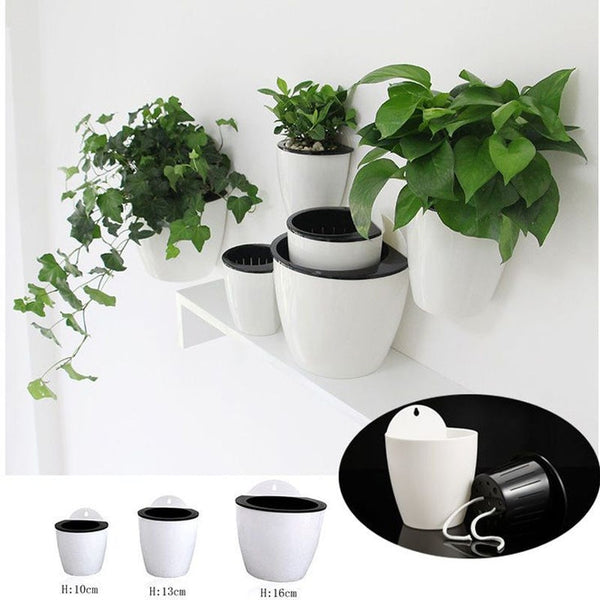 Wall Mounted Hanging Plant Pot Self Watering Planter Basket Planter Garden Hanging Planter Supply Home Plants Creative Decor