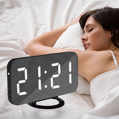 Digital LED Alarm Clock Mirror Clock Snooze Display Time Night Led Table Desk 2 USB Charge Ports for iphone Androd Phone