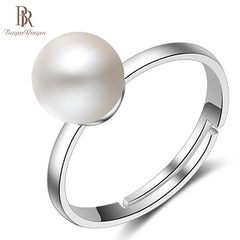 Bague Ringen 925 Silver Ring woman fashion Jewelry with round shape freshwater pearl   Engagement Wedding Ring Fine Jewelry Gift