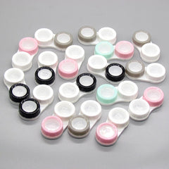 1Pcs Cosmetic Contact Lens Case Eye Care Box Double-box Color Randomly Eyewear Bag Keeps Contact Lenses Safe Solid Color