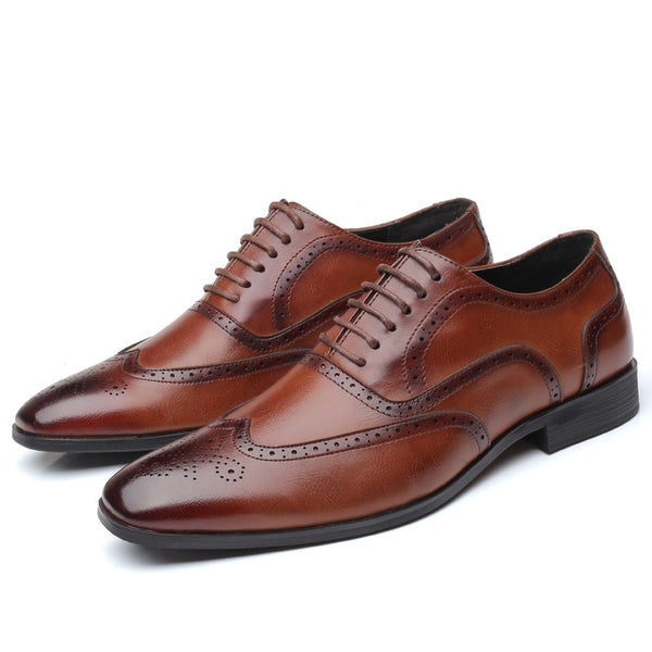2019 Pu Leather Men Dress Shoes Formal Wedding Party Shoes For Men Retro Brogue Shoes Luxury Brand Men's Oxfords