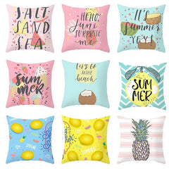 Cartoon Tropical Fruit Cushion Pillowcase Cover Coconut Strawberry Lemon Watermelon Pillow Cover Chair Home Car Decoration