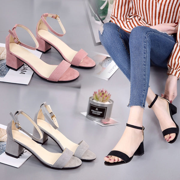 Sandals female with 2019 summer new word with thick with black suede wild open toe with women's shoes