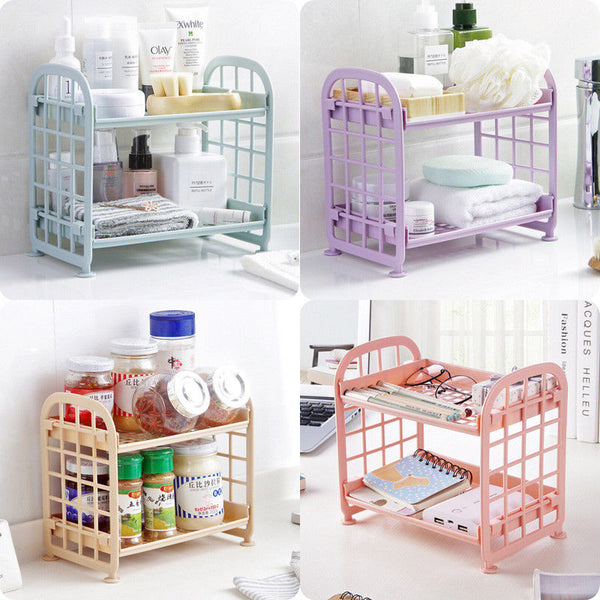 Storage Plastic Rack Bathroom Accessories 2 Tier Shelf Holder Freestanding Durable Kitchen Home Organization Storage Racks