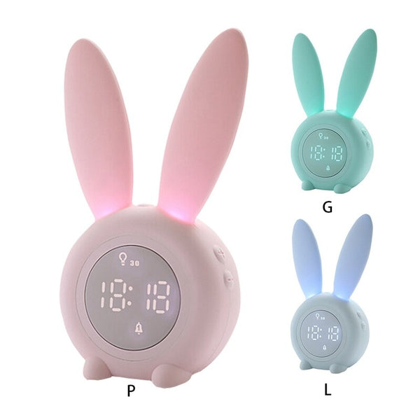 Children's Sleep Trainer Clock for Kids Sleep Timer Bunny Kids Alarm Clock with Digital Thermometer Touch Control and Snoozing