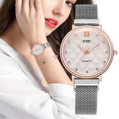 CCQ Fashion and Simple Diamond Dial Stainless Steel Magnetic Buckle Women's Watches Quartz Wristwatches Clock Bracelet New XB40