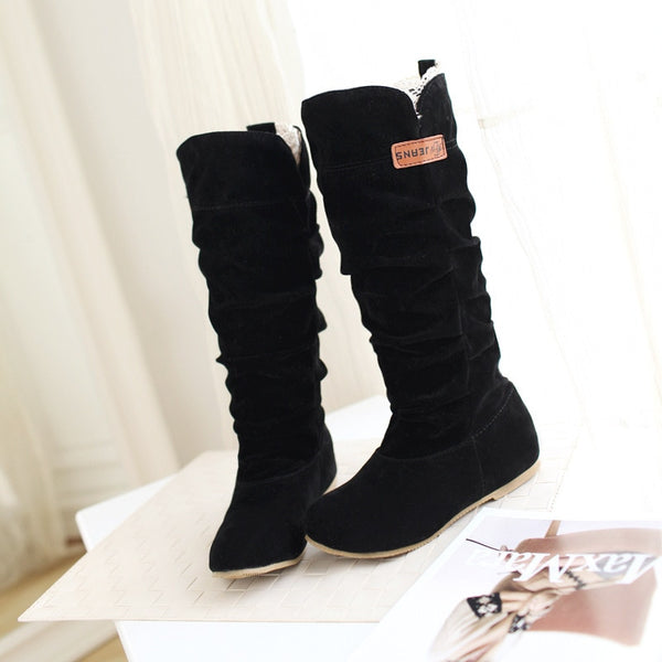 Women Lace Nubuck Flat Heels Winter Snow Boots Shoes Women's Flock Plush Padded Winter Long Riding Motorcycle Boots Shoes