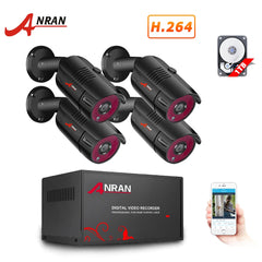 ANRAN 4CH CCTV System 4PCS 1080P Outdoor Weatherproof Security Camera AHD DVR Kit Day/Night Home Video Surveillance System