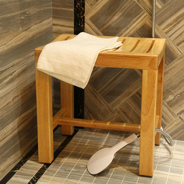 Waterproof footstool bathroom bench anti-corrosion low stools shoes bench solid wood stool bath bench shower bench KT708217