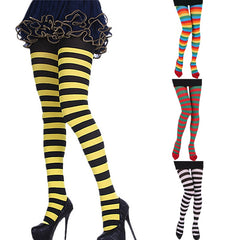 Party Funny Dress Up Props Panty  Halloween Christmas COS Joker Bee Zebra  Stripe Women Long Tube Knee Socks Pantyhose Stocking