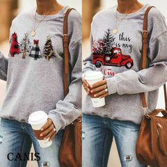 Plus Size Women's Autumn Winter Long Sleeve Sweatshirts Hoodies Jumper Pullover Tops Christmas Solid Baggy Clothes 3XL