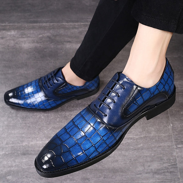 Formal Men's Crocodile Pattern Leather Shoes Pointed Toe Casual Party Office Oxford Platform Shoes Men Zapatos De Hombre