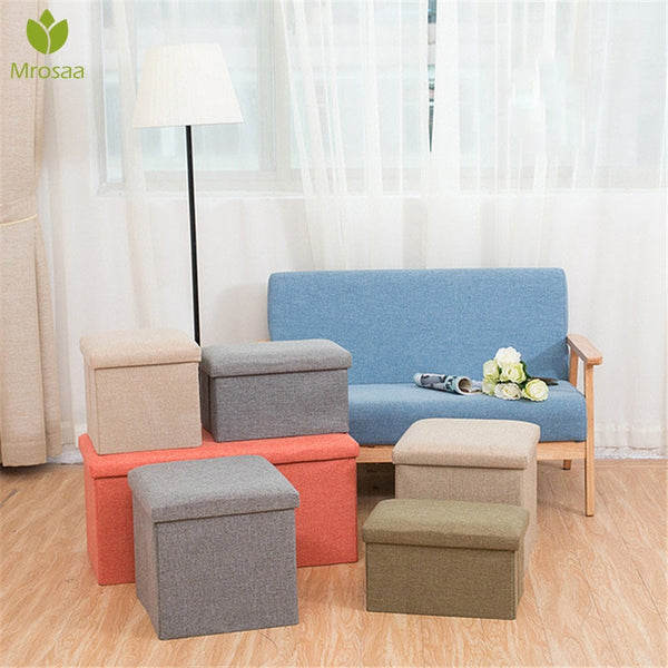 Hot Multifunctional Foldable Fabric Storage Stool Bench Box Small Sofa Minimalist Artistic Style Kid Chair Foot Stool 30*30*30CM