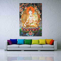 90x60cm Tibet Thangka Silk Cloth White Tara Buddha Buddhism Wall Hanging Decor Painting Calligraphy Home Office Decor