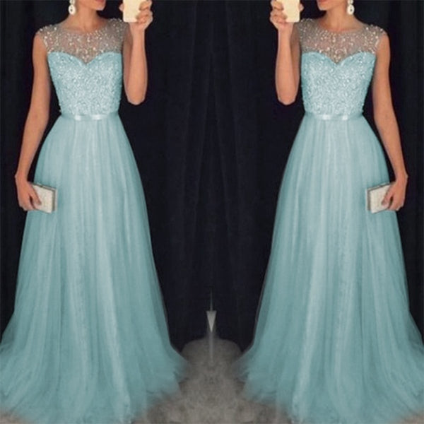 Women's Fashion Luxury Elegant Sequins Mesh Hem Long Party Dresses 2019 New Lace Up Slim Fit Sleeveless Party Maxi Dresses