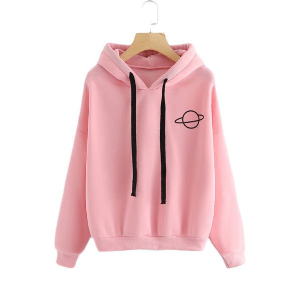 Women's Sweatshirt Women Hoodies Casual Planet Print Solid Loose Drawstring Sweatshirt Fashion Long Sleeve Hooded Female Tops