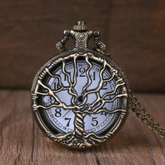 Vintage Classical Bronze Tree of Life Quartz Pocket Watch Analog Pendant Necklace Men Women Watches Chain Children Gift
