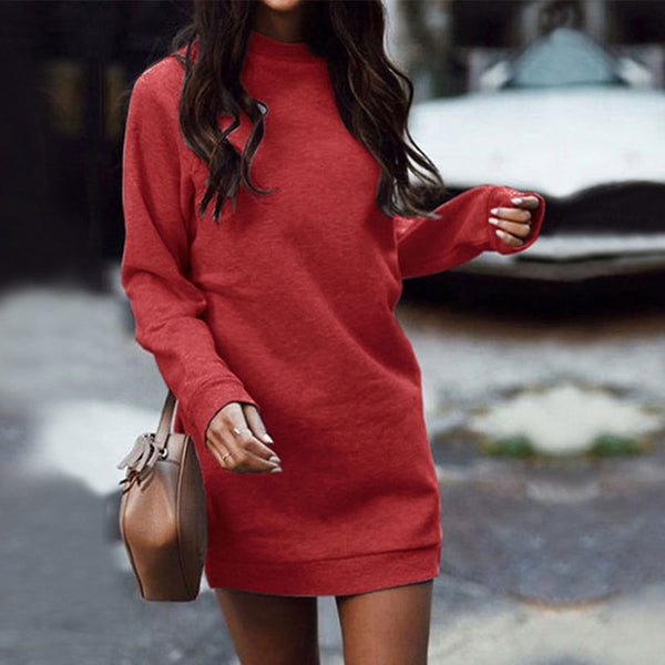 Winter Velvet Thicken Mini Hoodies Dress Women O-neck Fleece Long Sleeve Solid Basic Sweatshirts Dresses Female 2019 Autumn