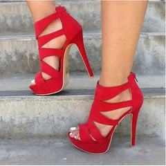 SHOFOO shoes,Elegant and stylish free shipping, suede, 14.5 cm high-heeled sandals, women's sandals. SIZE:34-45